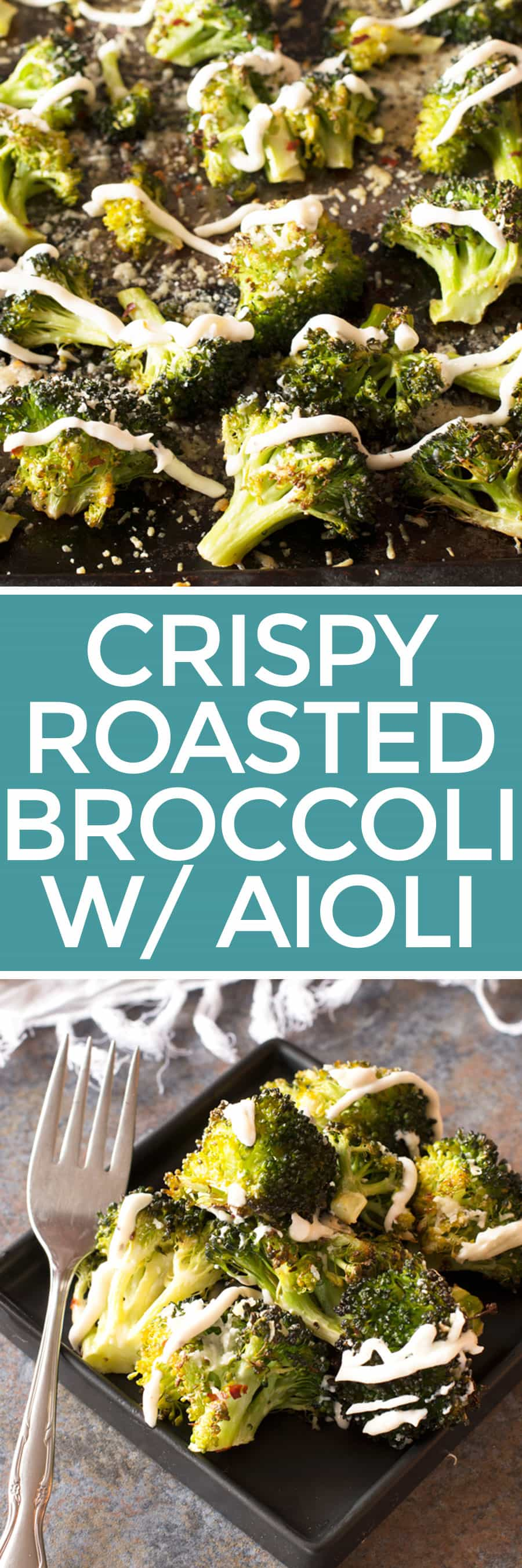 Crispy Roasted Broccoli with Roasted Garlic Aioli | cakenknife.com