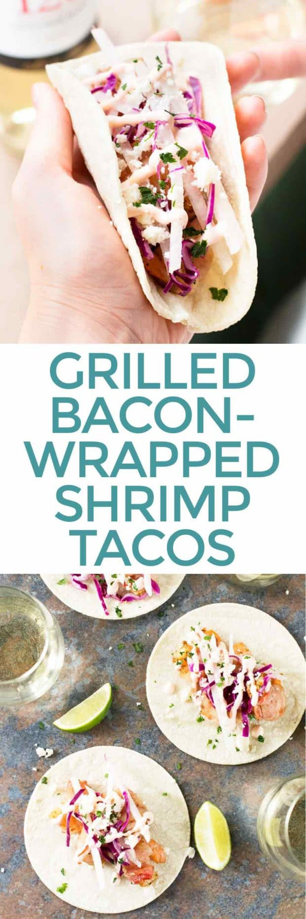 Grilled Bacon-Wrapped Shrimp Tacos | cakenknife.com #grilling #summer #tacotuesday