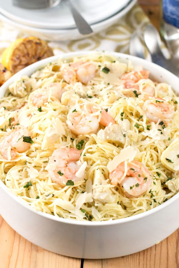 Lemon Shrimp & Artichoke Angel Hair Pasta | cakenknife.com