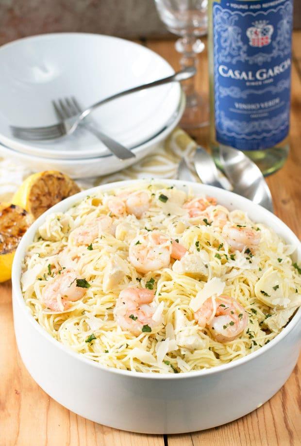 Lemon Shrimp & Artichoke Angel Hair Pasta | cakenknife.com