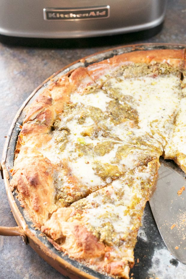 Pistachio Pesto Pizza with Crème Fraîche and Roasted Garlic (PLUS a KitchenAid Food Processor Giveaway!) | cakenknife.com