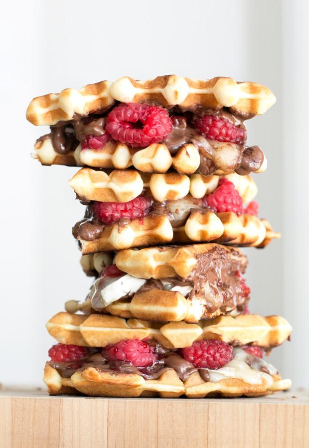Raspberry Nutella Brie Waffle Sandwiches   cakenknife.com
