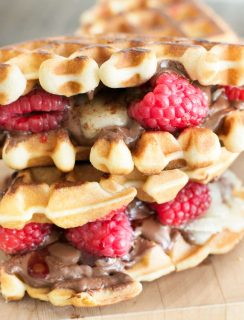 Raspberry Nutella Brie Waffle Sandwiches | cakenknife.com