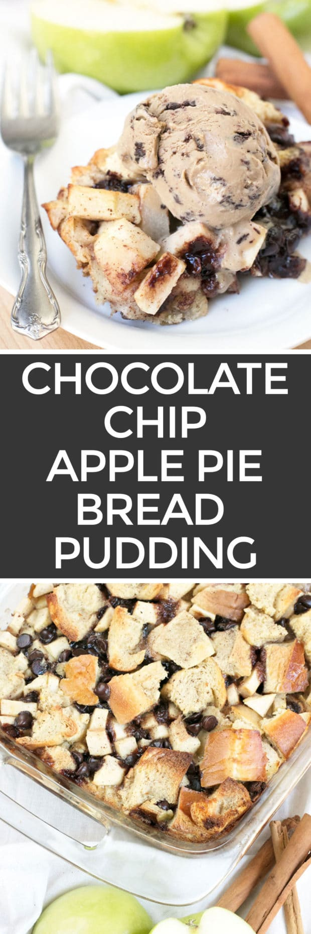 Chocolate Chip Apple Pie Bread Pudding | cakenknife.com
