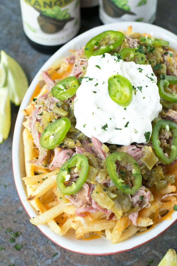 Green Chili Pulled Pork Cheese Fries | cakenknife.com
