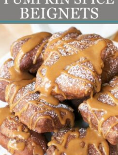Pumpkin Spice Beignets with Salted Caramel Drizzle Pinterest Image