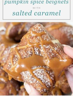 Pumpkin Spice Beignets with Salted Caramel Drizzle Recipe Pinterest Photo