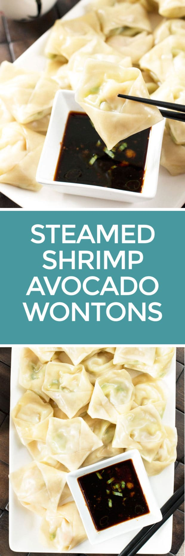 Steamed Shrimp Avocado Wontons with Ginger Dipping Sauce | cakenknife.com