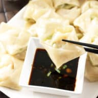 Steamed Shrimp Avocado Wontons with Ginger Dipping Sauce | cakenknife.com
