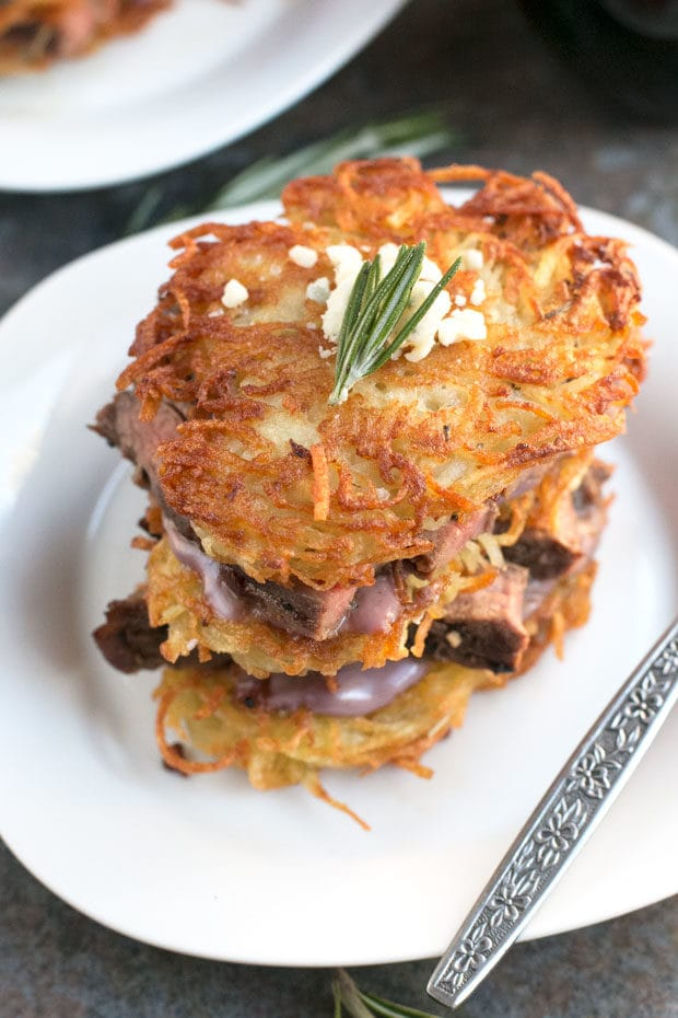 Garlic Rosemary Steak & Potato Stacks with Red Wine Blue Cheese Sauce ...