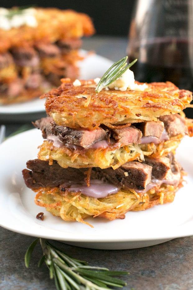 Garlic Rosemary Steak & Potato Stacks with Red Wine Blue Cheese Sauce | cakenknife.com