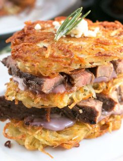 Garlic Rosemary Steak & Potato Stacks with Red Wine Blue Cheese Sauce | cakenknife.com