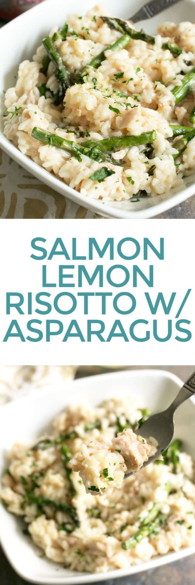 Salmon Lemon Risotto with Asparagus   cakenknife.com