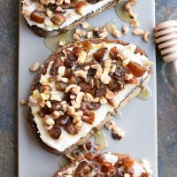 Ricotta, Date & Hazelnut Tartine with Spiced Rum Honey