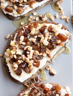Ricotta, Date & Hazelnut Tartine with Spiced Rum Honey | cakenknife.com