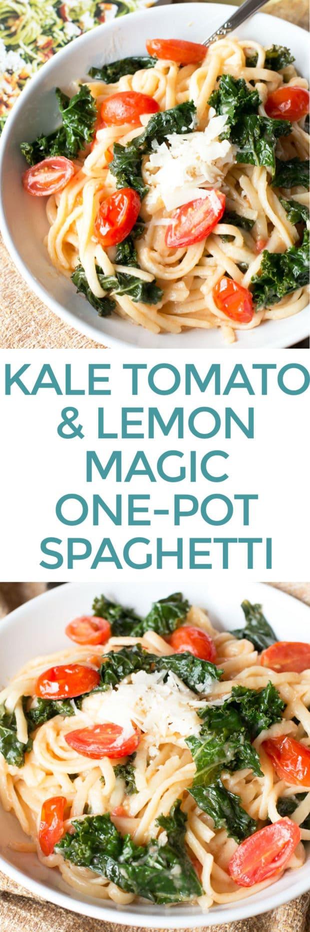 Kale, Tomato, and Lemon Magic One-Pot Spaghetti | cakenknife.com