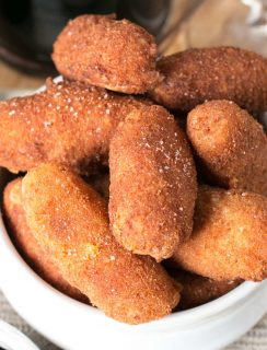 Chorizo, Cheese & Potato Croquettes with Red Wine Dipping Sauce | cakenknife.com