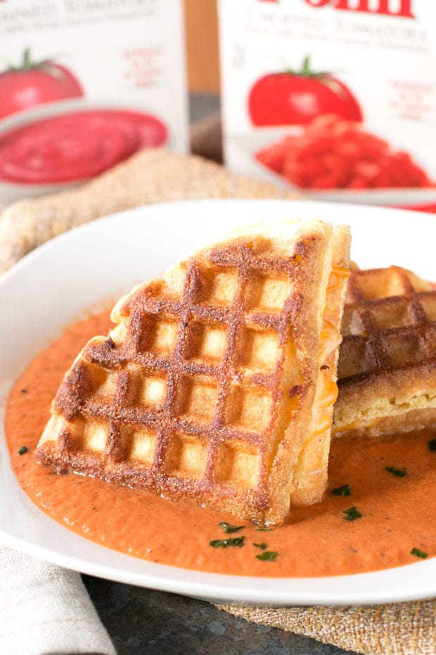 Cornbread Waffle Grilled Cheese Sandwich with Tomato Basil Soup | cakenknife.com