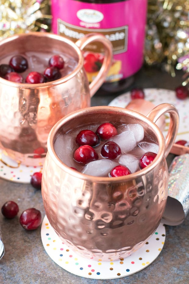 Cranberry Pomegranate Champagne Mule | cakenknife.com