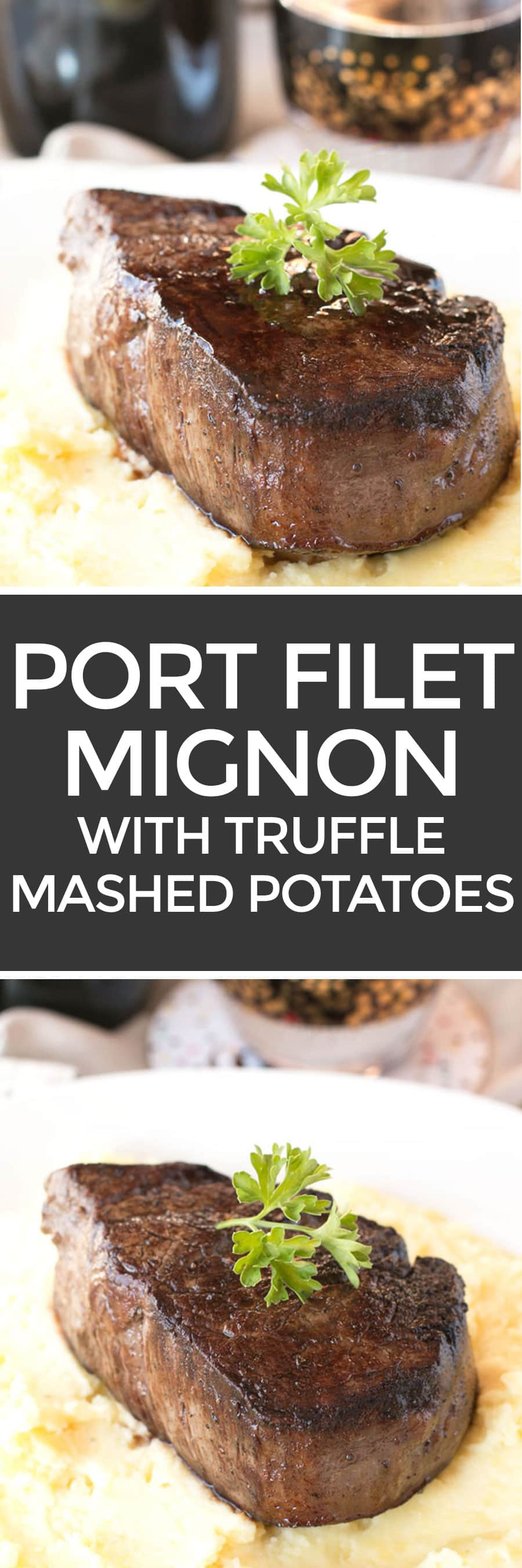 Filet Mignon with Port Sauce and Truffle Mashed Potatoes | cakenknife.com