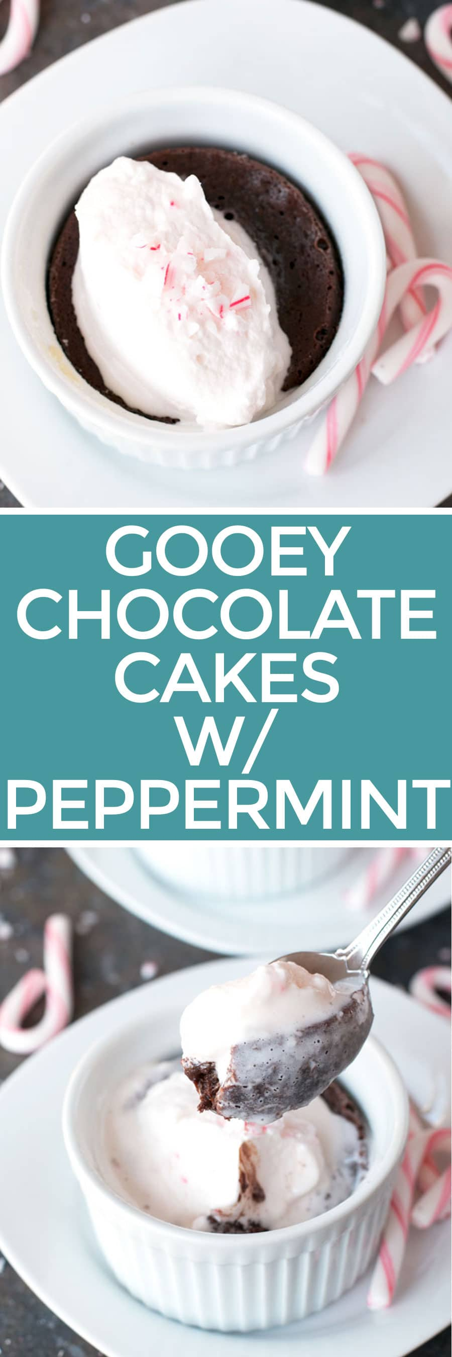 Gooey Dark Chocolate Cakes with Peppermint Crunch Whipped Cream | cakenknife.com