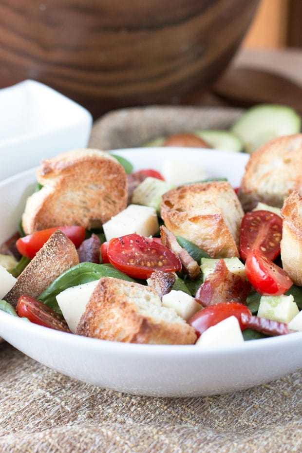 Avocado Caprese Panzanella Salad | cakenknife.com