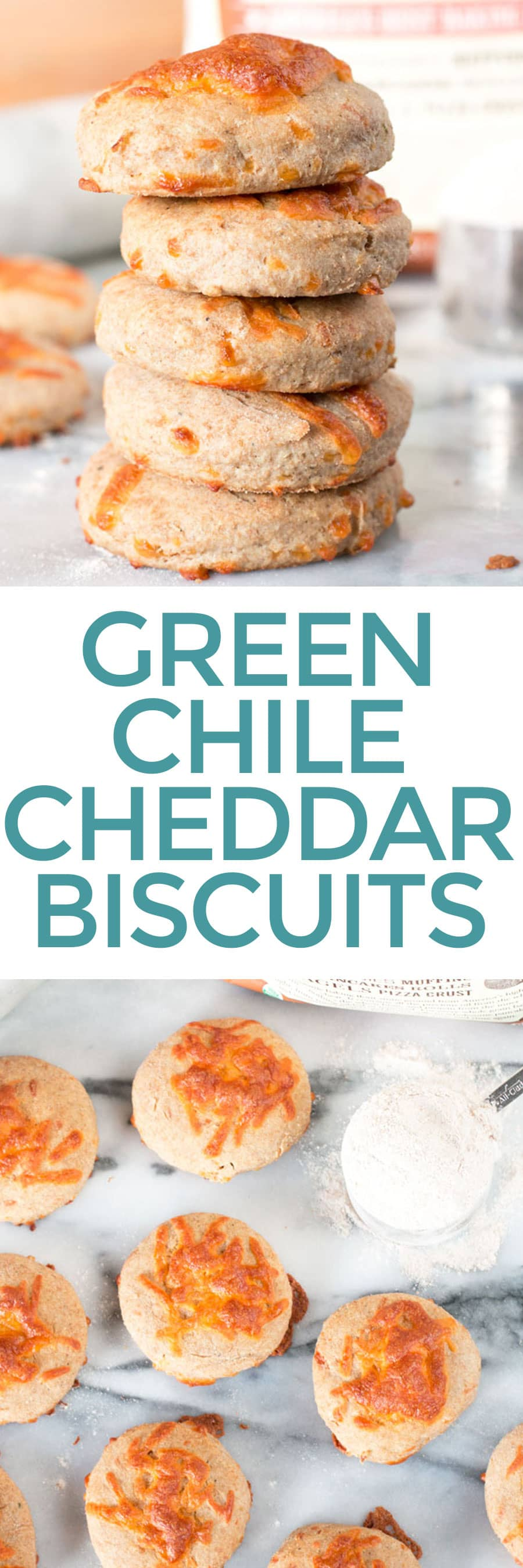 Green Chile Cheddar Whole Wheat Biscuits   cakenknife.com