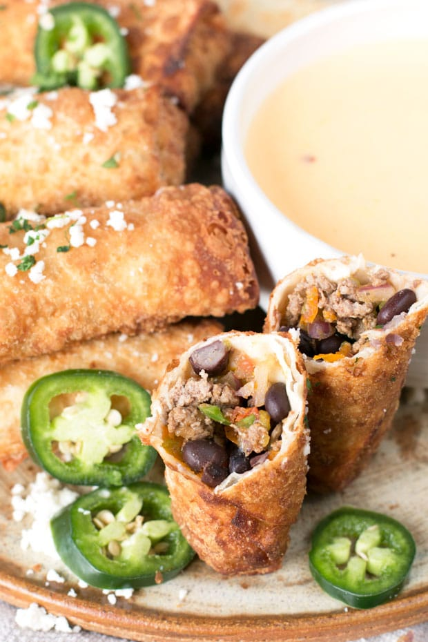 Loaded Nacho Egg Rolls with Queso Dip | cakenknife.com