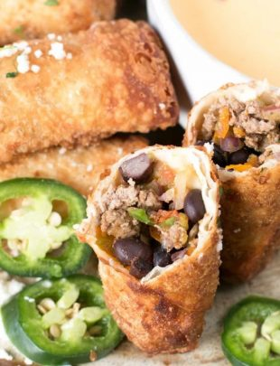 Loaded Nacho Egg Rolls with Queso Dip   cakenknife.com