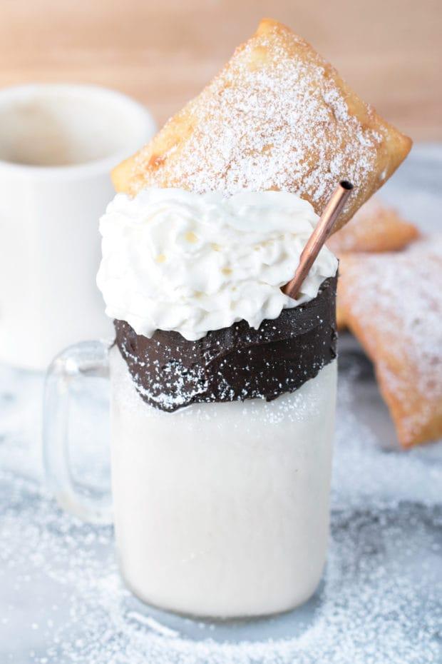 Beignet and Coffee Cocktail Shake | cakenknife.com #recipe #drink #milkshake