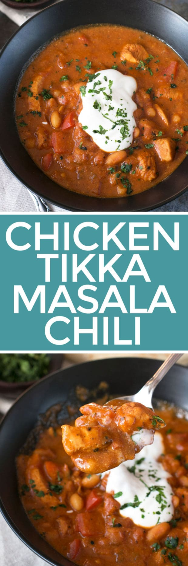 Tikka Masala Chicken Chili | cakenknife.com #soup #dinner #recipe