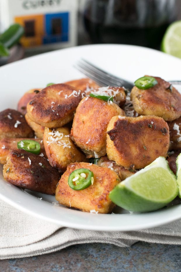 Pan Fried Curry Ricotta Gnocchi in Chile Lime Brown Butter Sauce | cakenknife.com #pasta #dinner #curry
