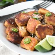 Pan Fried Curry Ricotta Gnocchi in Chile Lime Brown Butter Sauce   cakenknife.com #pasta #dinner #curry