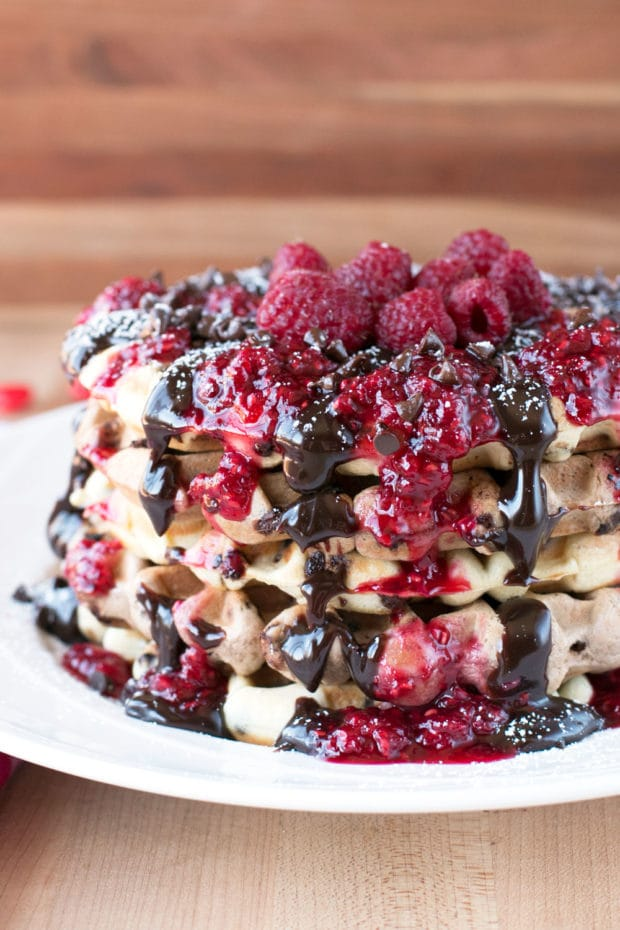 Double Chocolate Chip Raspberry Waffles | cakenknife.com #brunch #breakfast