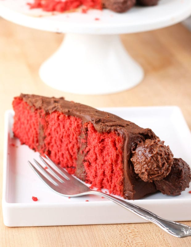 Red Velvet Truffle Cake for Two | cakenknife.com