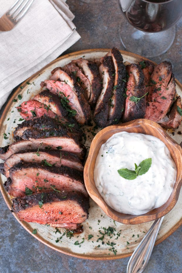 Ancho Chili Rubbed Leg of Lamb with Mint Yogurt Sauce | cakenknife.com #Easter #dinner