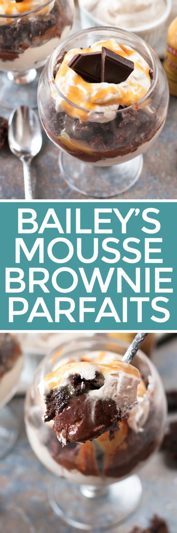 Bailey's Chocolate Mousse Brownie Parfaits | cakenknife.com #dessert #chocolate