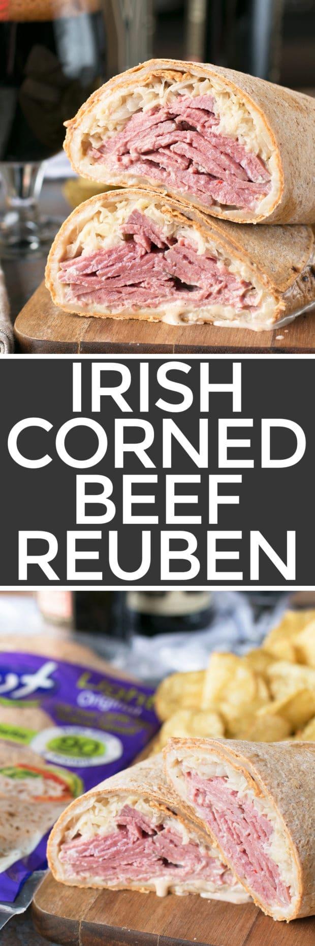Irish Corned Beef Reuben Wrap   cakenknife.com #sandwich #lunch
