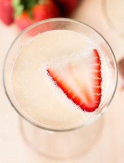 Strawberry Rhubarb Champagne Cocktail   cakenknife.com #spring #drink #brunch