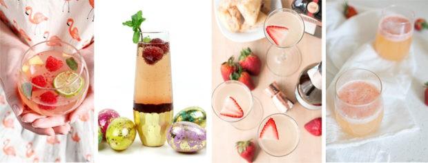 Strawberry Rhubarb Champagne Cocktail | cakenknife.com #spring #drink #brunch