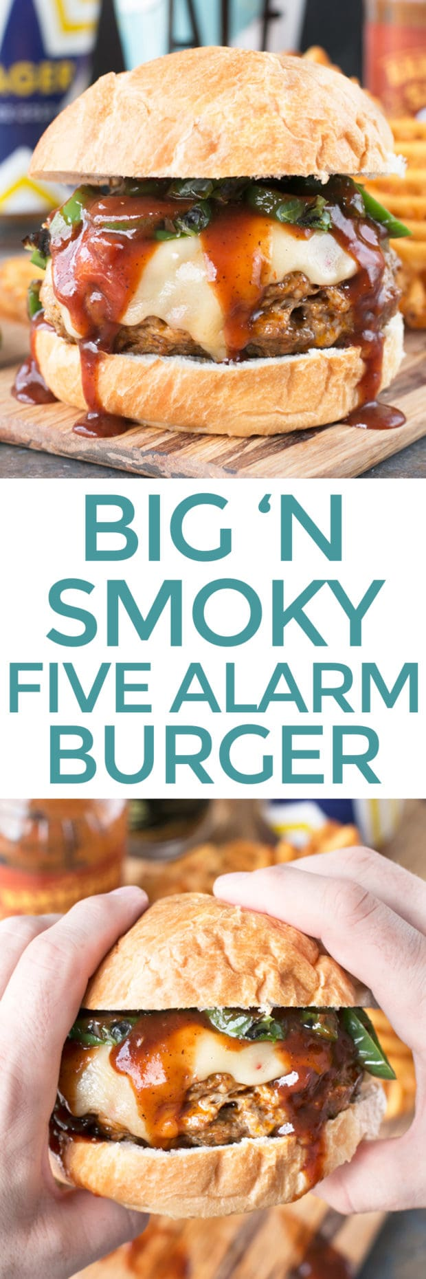 Big 'n Smoky Five Alarm Burger | cakenknife.com @sprouts #burger #grilling #summer #nationalhamburgerday