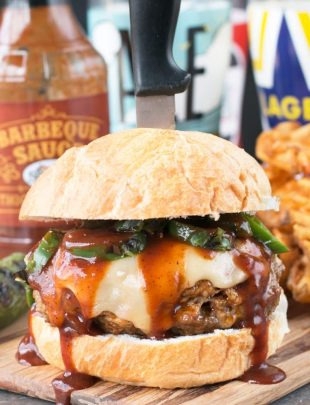 Big 'n Smoky Five Alarm Burger | cakenknife.com @sprouts #burger #grilling #summer #nationalhamburgerday