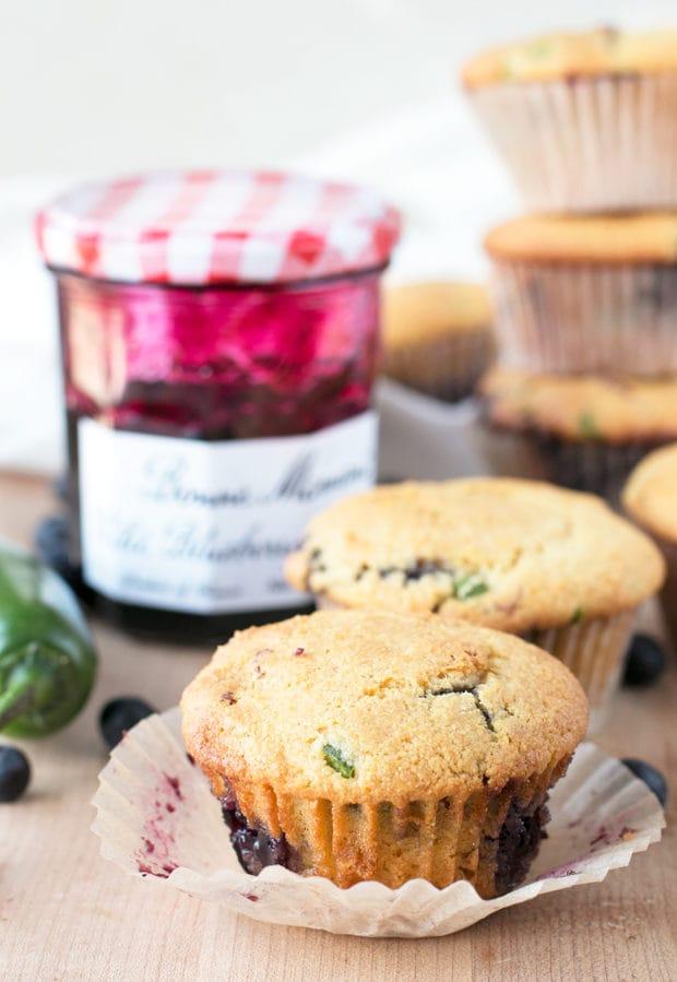 Blueberry Jalapeno Bacon Cornbread Muffins | cakenknife.com #breakfast #brunch