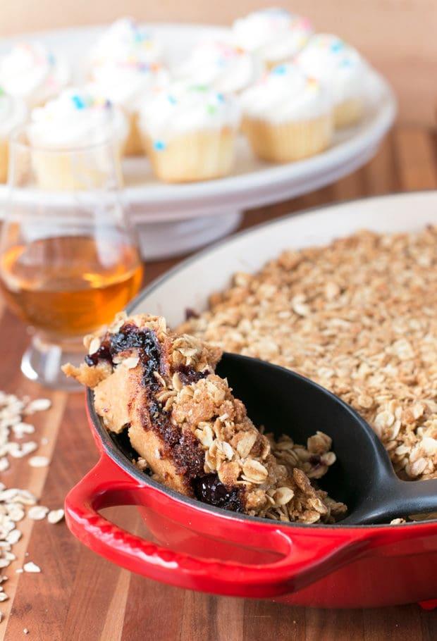 Bourbon Cherry Crisp | cakenknife.com #cherries #bourbon #dessert