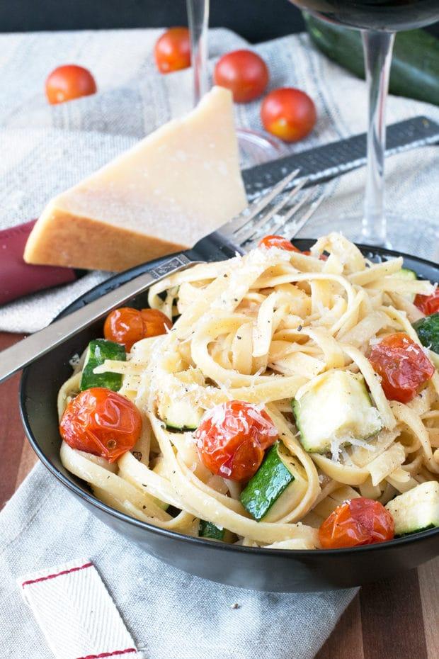 Brown Butter Spring Vegetable Fettuccine | cakenknife.com #pasta #dinner #healthy