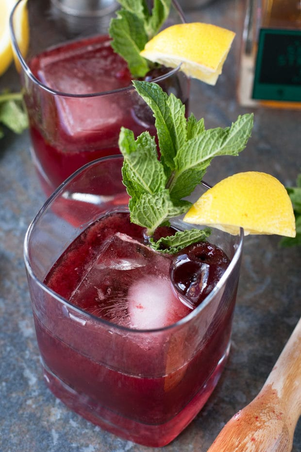 Cherry Whiskey Smash | cakenknife.com #cocktail #whiskey #summer