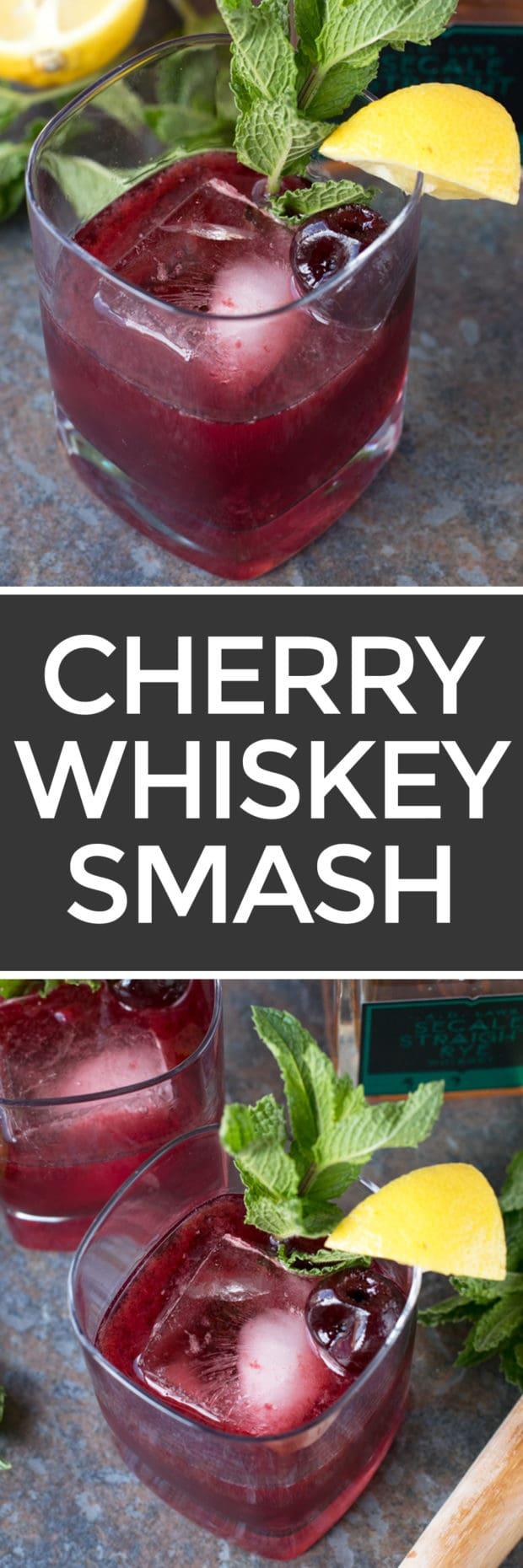cherry whiskey smash cake n knife