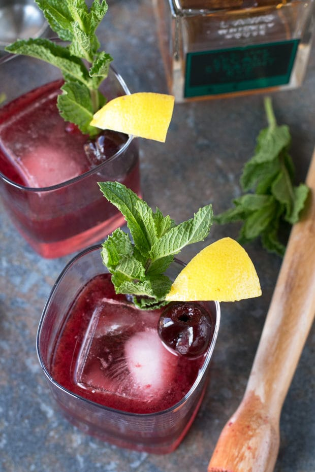 Cherry Whiskey Smash | cakenknife.com #cocktail #whiskey #summer