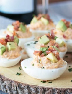 Chipotle Bacon Deviled Eggs | cakenknife.com #brunch #breakfast
