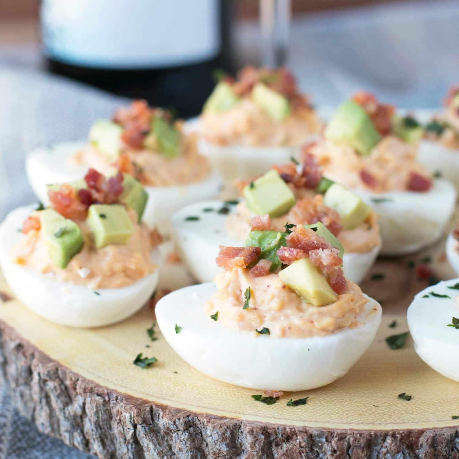 Chipotle Bacon Deviled Eggs - Cake 'n Knife